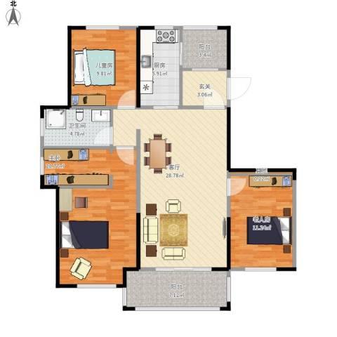 金辉城3室1厅1卫1厨95.09㎡户型图