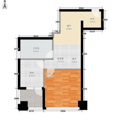 东壹号1室0厅1卫1厨60.00㎡户型图