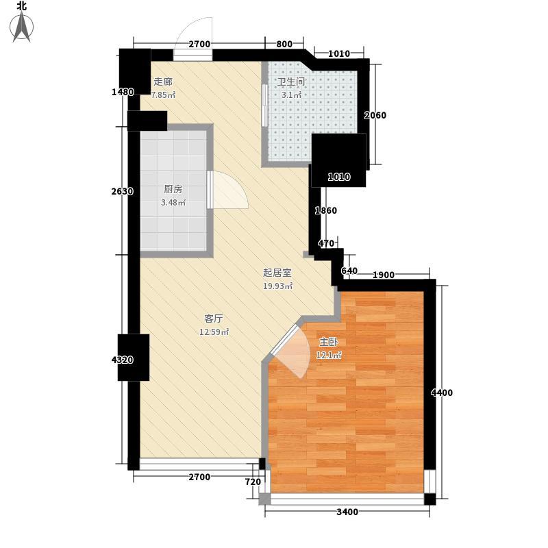 胜利名座45.30㎡公寓A户型1室1厅1卫1厨