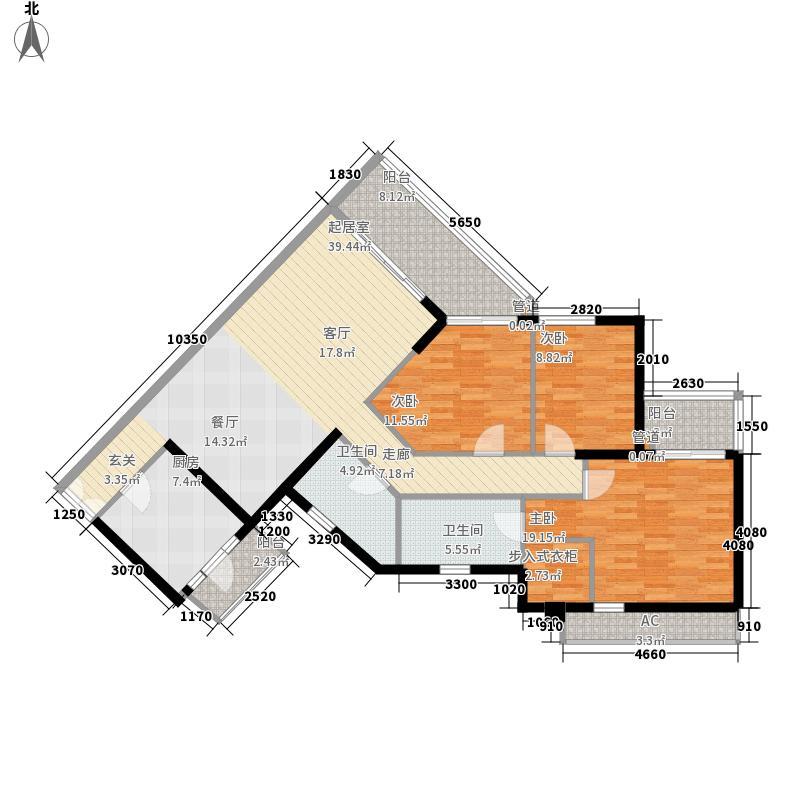 逸翠湾129.45㎡二栋5层06单元3室面积12945m户型