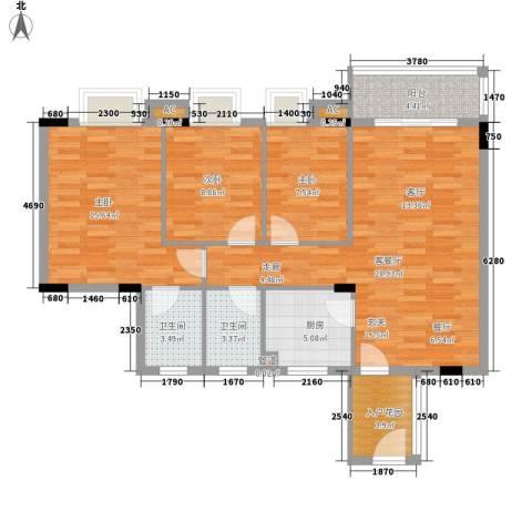 德盈华庭3室1厅2卫1厨86.00㎡户型图