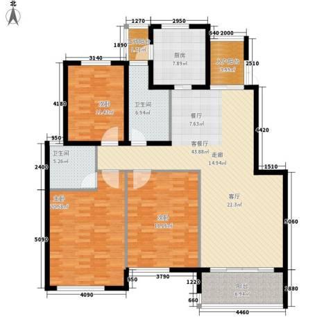 江阴外滩名门3室1厅2卫1厨142.00㎡户型图
