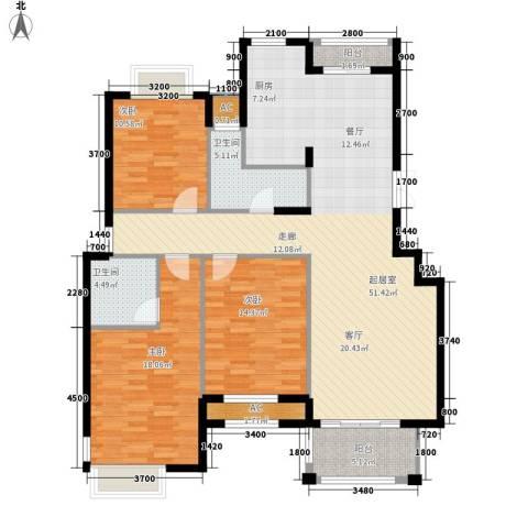 皇马公寓3室0厅2卫0厨140.00㎡户型图