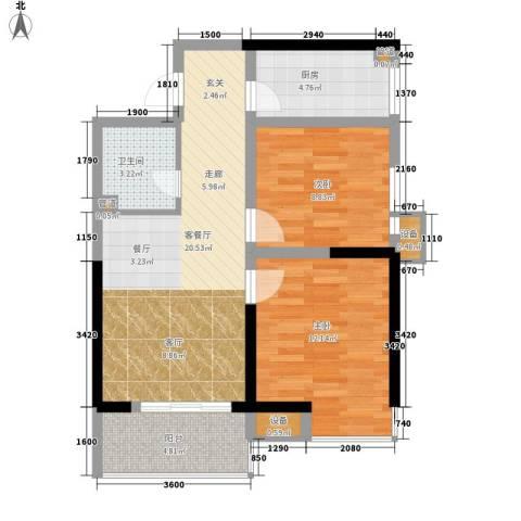 绿辰公元赏2室1厅1卫1厨81.00㎡户型图