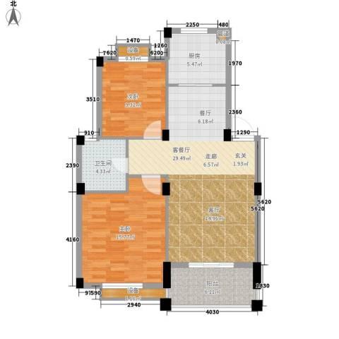万里阳光水岸2室1厅1卫1厨89.00㎡户型图