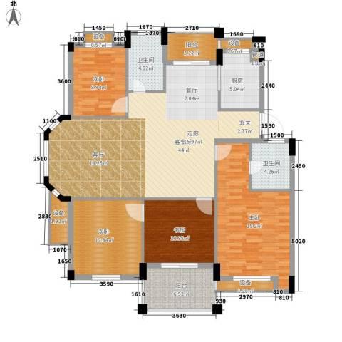 万里阳光水岸4室1厅2卫1厨143.00㎡户型图