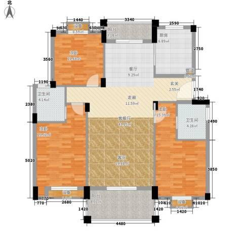 万里阳光水岸3室1厅2卫1厨132.00㎡户型图