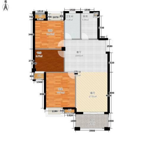 皇马公寓3室0厅1卫1厨105.00㎡户型图