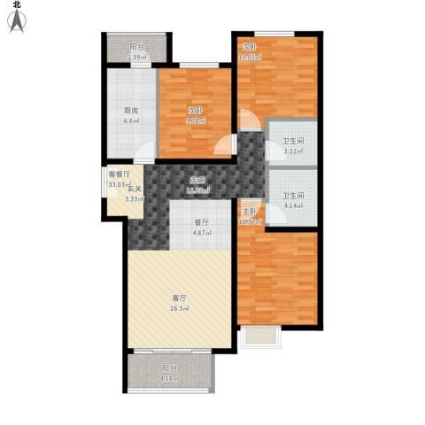 红杉一品・和廷3室1厅2卫1厨120.00㎡户型图