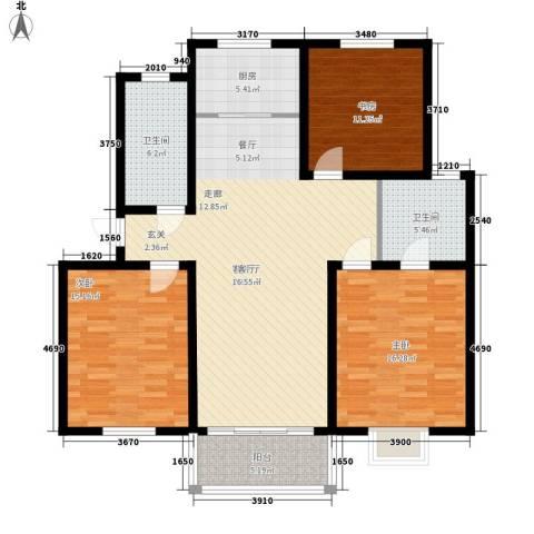 望馨花苑3室1厅2卫1厨116.00㎡户型图