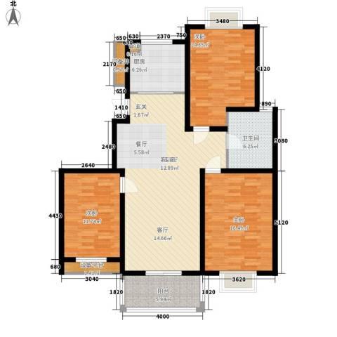 扬州印象花园3室1厅1卫1厨112.00㎡户型图