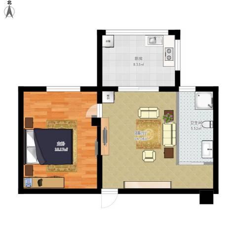 中辰国际公寓1室1厅1卫1厨69.00㎡户型图