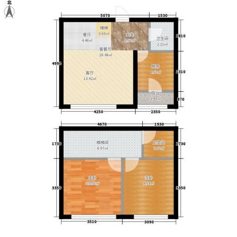 都市左岸2室1厅2卫1厨83.00㎡户型图
