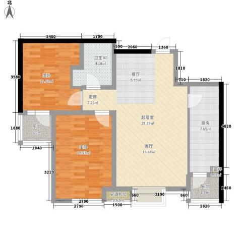明湖・白鹭郡2室0厅1卫1厨83.00㎡户型图