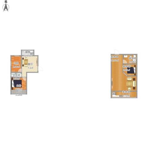 金色港湾2室1厅1卫1厨65.00㎡户型图