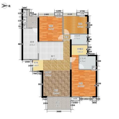 尚东峰景3室1厅2卫1厨139.00㎡户型图