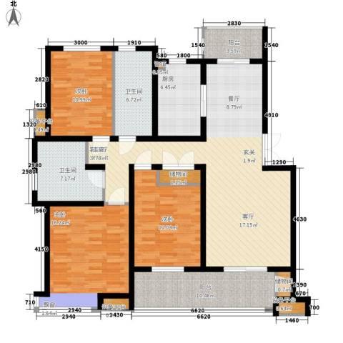中都沁园3室1厅2卫1厨166.00㎡户型图