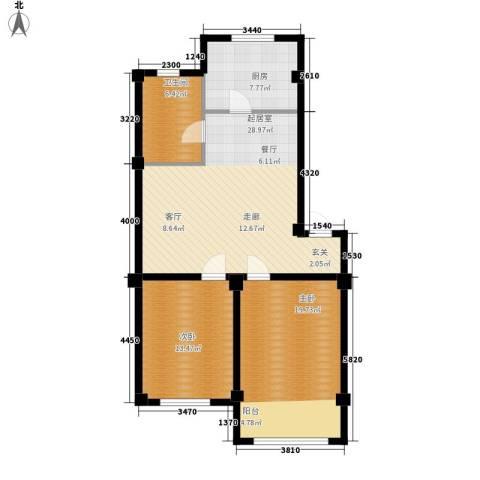 意利黄海明珠2室0厅1卫1厨107.00㎡户型图