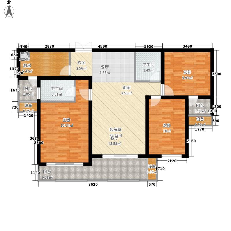 龙腾国际花园131.40㎡2#楼B1a户型3室2厅