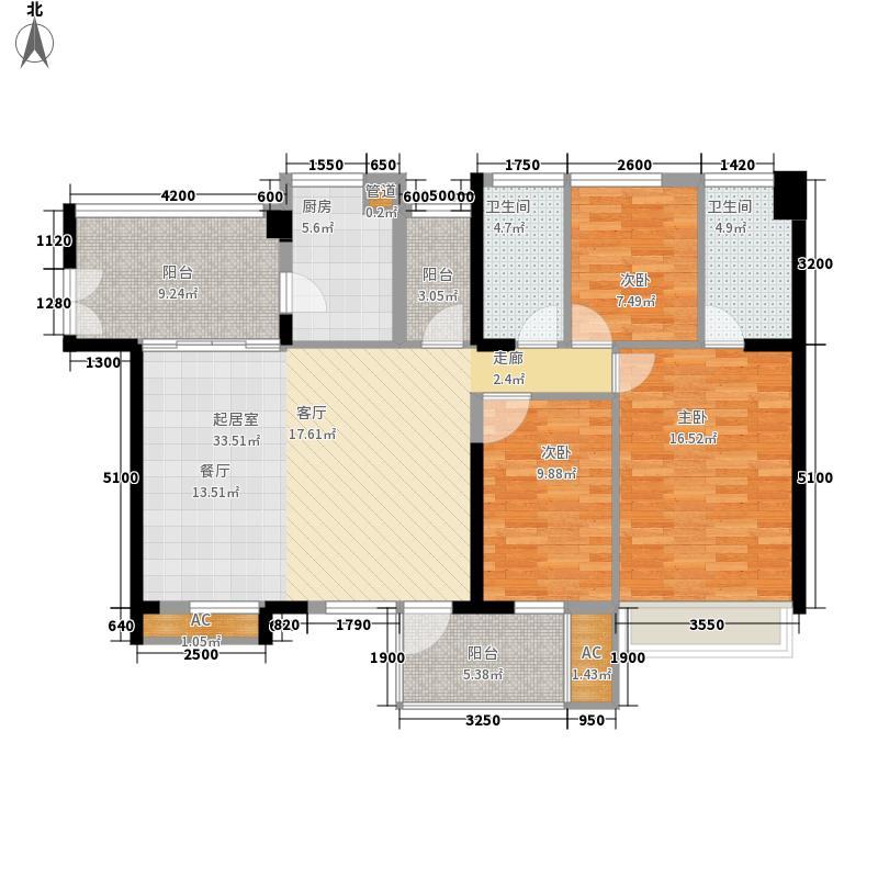 潜龙曼海宁121.40㎡93阳台户型3室2厅
