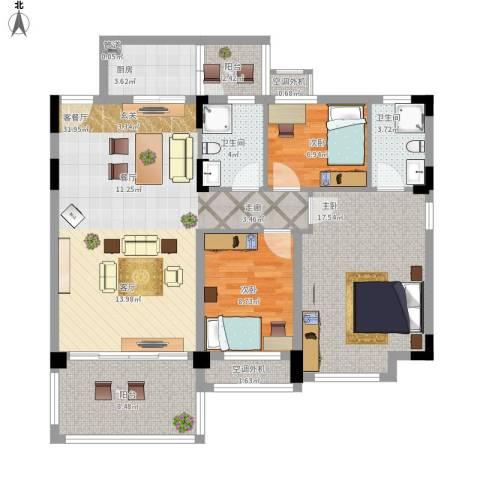 华南碧桂园6米阳光3室1厅2卫1厨129.00㎡户型图