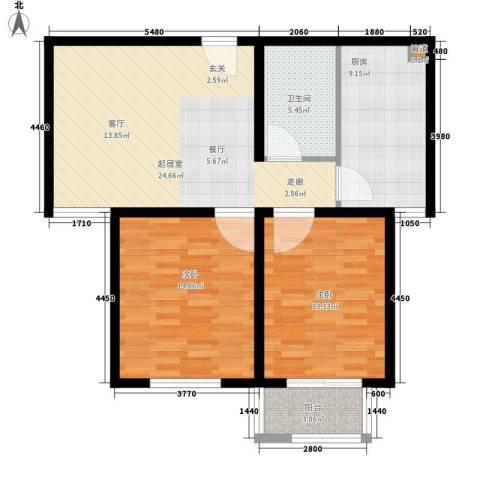 北斗星城2室0厅1卫1厨100.00㎡户型图