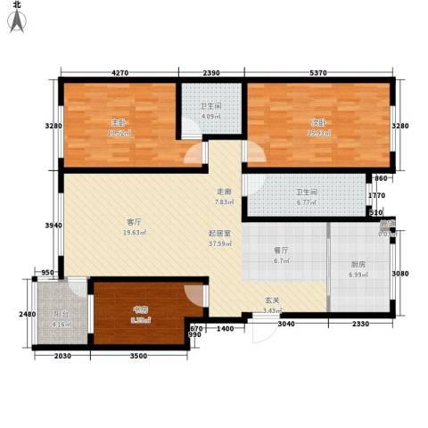潜龙新村3室0厅2卫1厨137.00㎡户型图