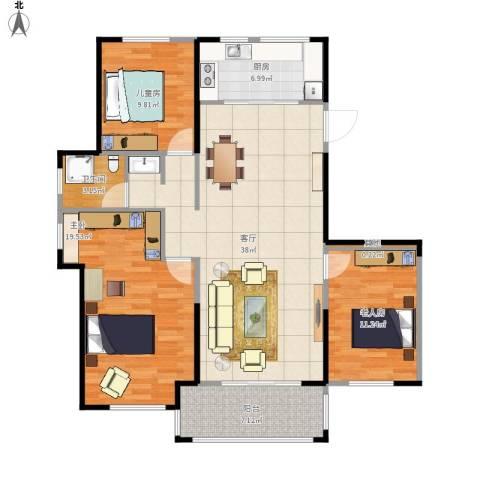 金辉城3室1厅1卫1厨131.00㎡户型图