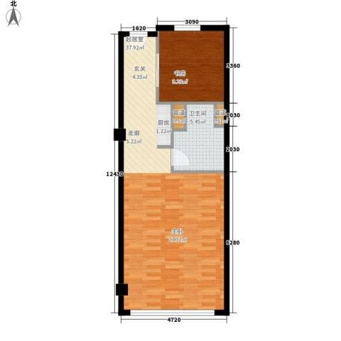 长江越领1室0厅1卫0厨58.00㎡户型图
