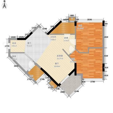 广州雅居乐花园一尺山居2室0厅1卫1厨80.00㎡户型图