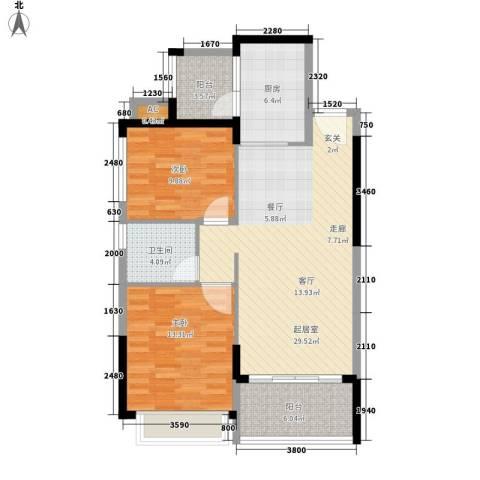 恒大・名都2室0厅1卫1厨90.00㎡户型图