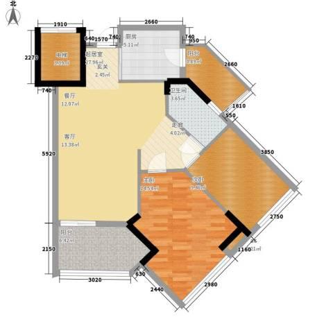 广州雅居乐花园一尺山居2室0厅1卫1厨85.00㎡户型图