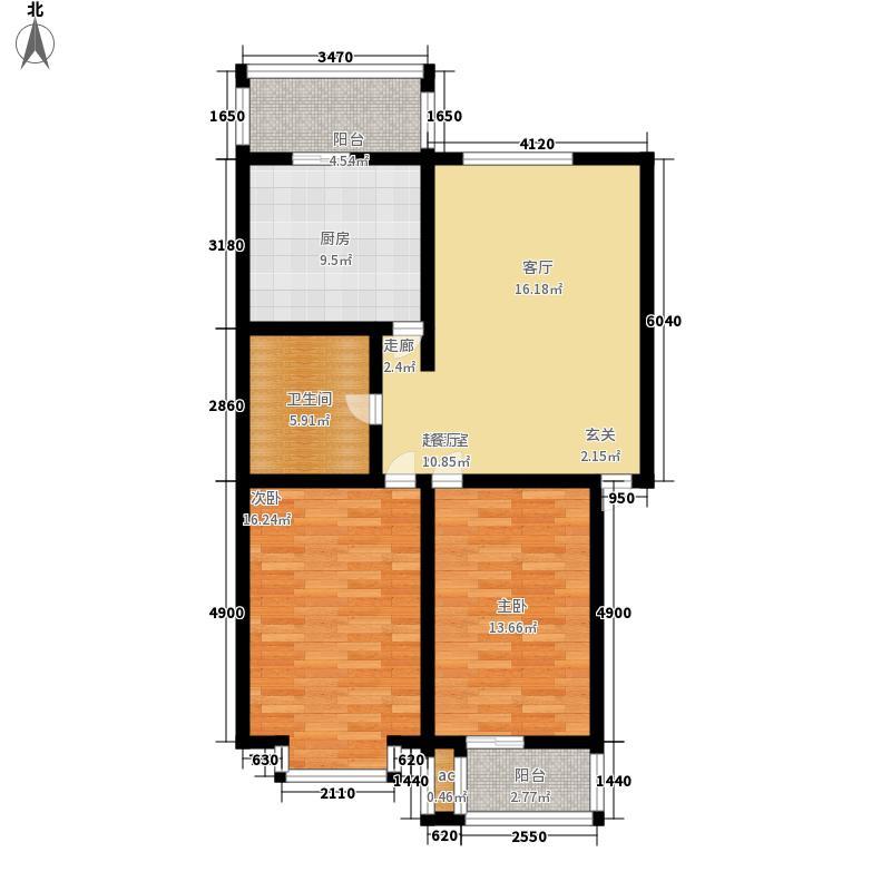 古龙湾89.97㎡古龙湾89.97㎡2室2厅1卫户型2室2厅1卫