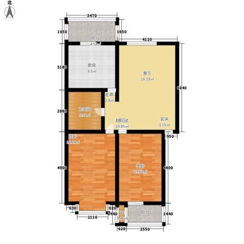 古龙湾2室0厅1卫1厨90.00㎡户型图