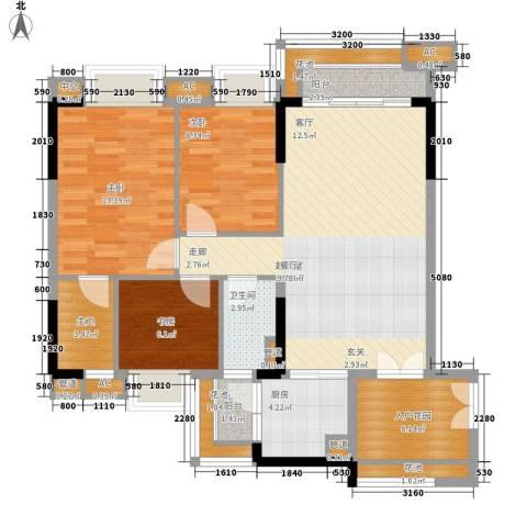 芙蓉春晓3室0厅1卫1厨96.00㎡户型图