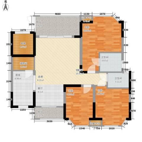 世纪绿洲二期3室1厅2卫1厨124.00㎡户型图