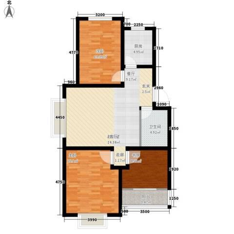 凤凰城 梧桐苑3室0厅1卫1厨89.00㎡户型图