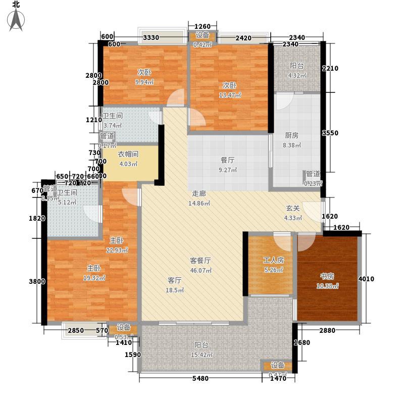 尚东峰景172.41㎡B3栋02单元5室面积17241m户型