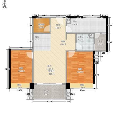 尚东峰景2室1厅1卫1厨94.00㎡户型图