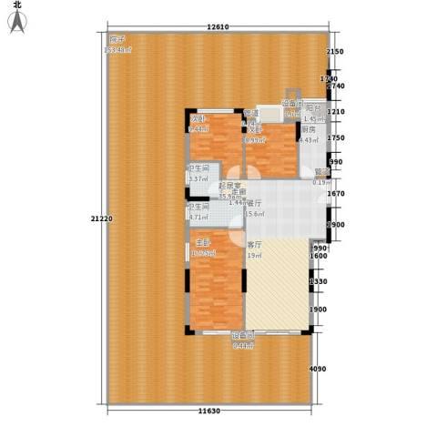 康田紫悦府3室0厅2卫1厨241.06㎡户型图