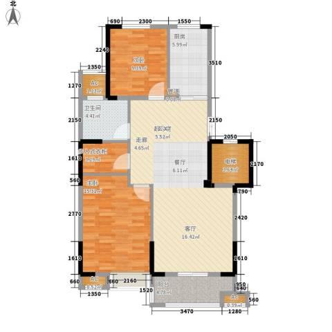 大成国际领域2室0厅1卫1厨92.00㎡户型图