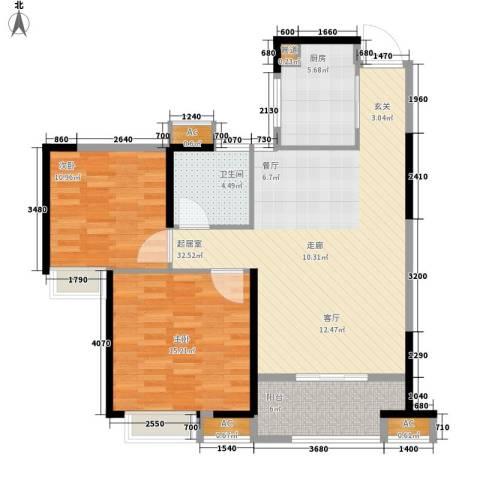 大成国际领域2室0厅1卫1厨86.00㎡户型图