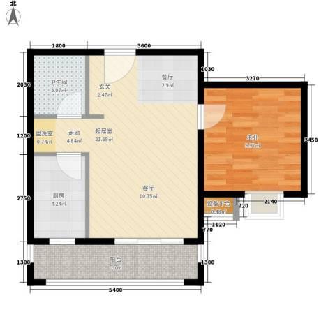 涨浦景苑1室0厅1卫1厨64.00㎡户型图