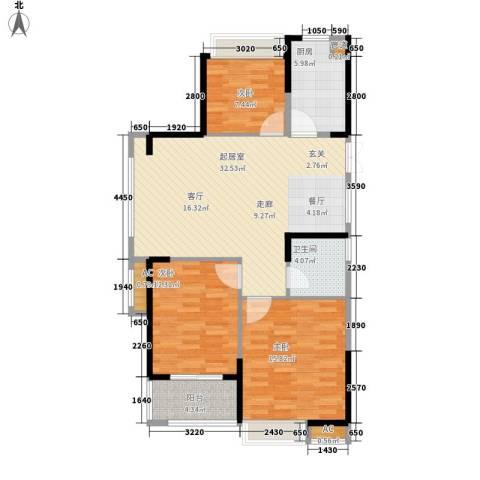 大成国际领域3室0厅1卫1厨91.00㎡户型图