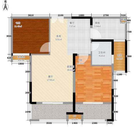 大成国际领域2室0厅1卫1厨90.00㎡户型图