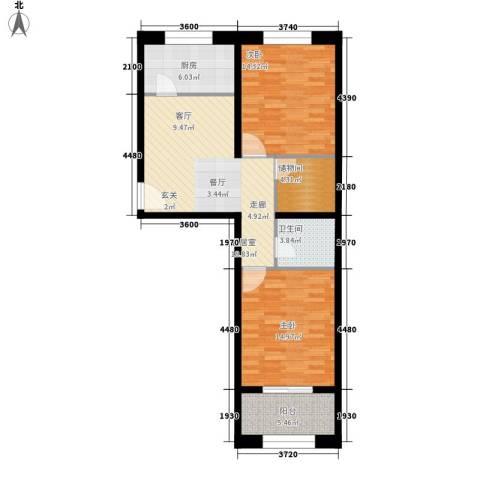 豪景南苑2室0厅1卫1厨79.00㎡户型图