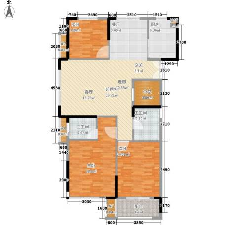 大成国际领域3室0厅2卫1厨123.00㎡户型图
