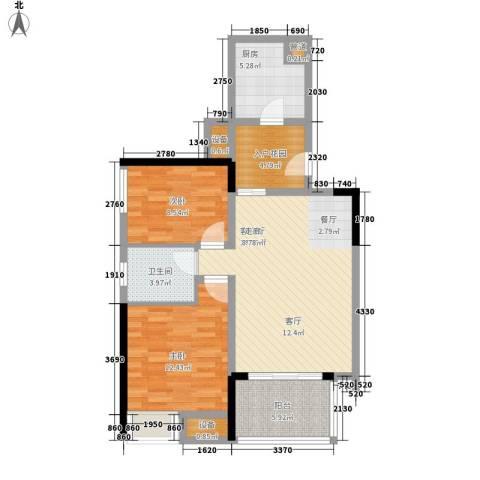开发区2室1厅1卫1厨97.00㎡户型图