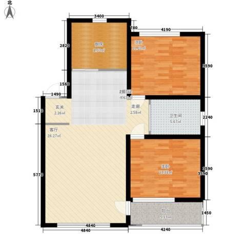 新嘉坡城B区2室0厅1卫1厨85.77㎡户型图