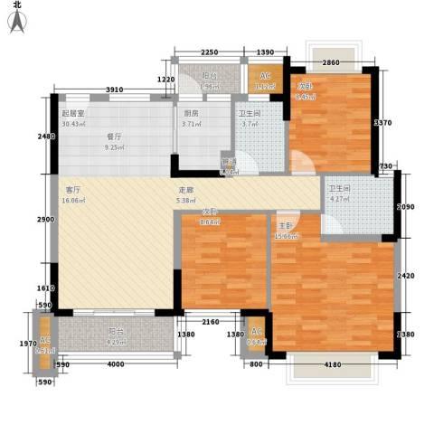 黄江江海城私宅3室0厅2卫1厨96.58㎡户型图